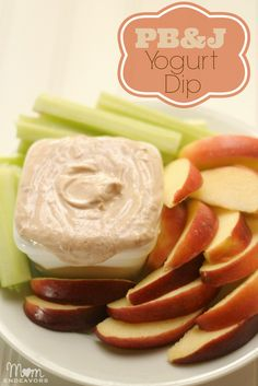 PB Greek Yogurt Dip - a healthy, easy to make snack with only 3 ingredients! via momendeavors.com