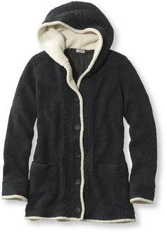 Women's Lined Sherpa-Trimmed Sweater Hoodie Misses Regular