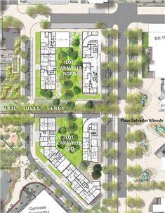 AAUPC - Patrick Chavannes - Îlot Caravelle Urban Design Concept, Urban Design Diagram, Urban Design Plan, Landscape Design Plans, Landscape Architecture Design, Classical Architecture, Ancient Architecture, Sustainable Architecture, Plan Concept Architecture