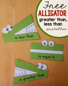 These alligator great than, less than printables for comparing numbers.