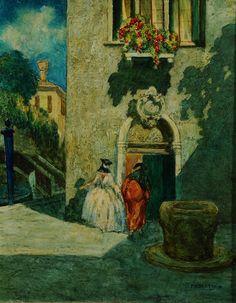 Rodolfo Paoletti (1866-1930) Canale veneziano con maschere