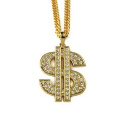 Jewelry Necklace Gold Plated Dollar Pendant Necklace Gold $ Big Dollar Sign Pendant Chain Necklace Hip Hop Jewelry For Gift