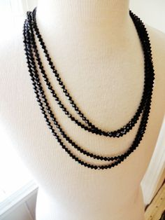 Extra Long Necklace 2 Seperate Strands Jet by unconventionalJ, $45.00