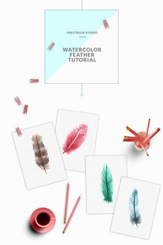 Learn four different ways of painting feathers by following this simple watercolor feather tutorial.Detailed photos with step by step explanation provided.