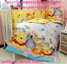 Promotion! 6/7PCS Baby Bed Sets Baby Crib Bedding Sets kit berco,duvet cover ,120*60/120*70cm(China (Mainland)) Baby Cot Bedding Sets, Baby Cot Sets, Baby Sheets, Cot Sheets, Crib Sets, Cot Duvet, Bed Sets, Cot Bed Bumper, Baby Bumper