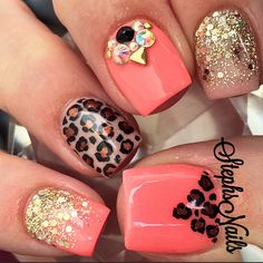 Mix and match coral nail art.