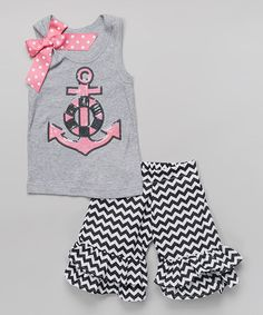 Gray & Pink Anchor Tank & Ruffle Shorts - Infant, Toddler & Girls by Beary Basics #zulily #zulilyfinds