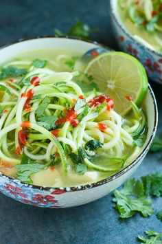 Spicy Sriracha Lime Chicken Zoodle Soup: Short on time? Try this spicy (and speedy!) zucchini noodle soup with chicken, cilantro, Sriracha and lime.