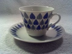 Vintage Rorstrand, Sweden Valentine Pattern Cup and Saucer