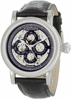 Stuhrling Original Men's 150A.33151 Symphony Maestro II Automatic Skeleton Date Black Leather Strap Watch Stuhrling Original. $133.84. Water-resistant to 165 feet (50 M). Quality automatic movement; functions without a battery; powers automatically with the movement of your arm. Reliable automatic-self-wind movement 20 jewels. Krysterna scratch resistant crystal. Skeleton master calendar with day, date, month, and 24 hour time indication