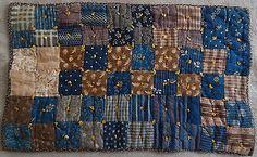 Authentic Antique Multi-Color Patchwork Doll Quilt 1885-1890