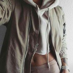crop sweatshirt and bomber type jacket