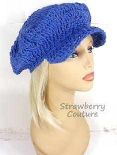 Crochet Hat Womens Hat Summer Hat for Women Crochet Beanie Hat Slouchy Beanie Royalty Blue Hat in Cotton Yarn ANNIE Newsboy Hat by strawberrycouture by #strawberrycouture on #Etsy