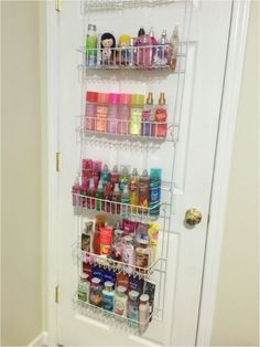 Over-the-door spice rack to store lotions and perfume.