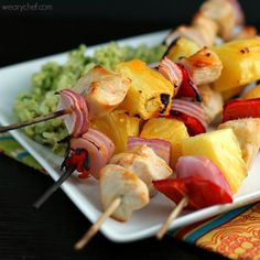 Skewered Pineapple Chicken Recipe with Spicy Orange Marinade - The Weary Chef