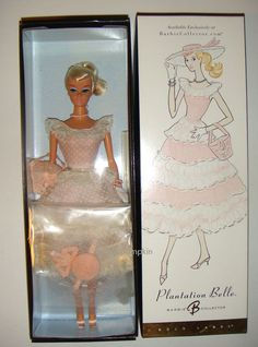 Between 1959 and a favorite Barbie® fashion was Plantation Belle™. The waltz-length garden party dress features a fitted scoop neck bodice and round, full, flouncy skirt. A suite of faux pearl jewelry completes the wonderful look. Belle Barbie Doll, Barbie And Ken, Barbie Dolls, Barbie Collection, Miniatures, Free Shipping, My Favorite Things, Pink, Vintage