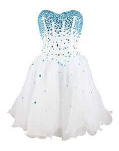 I REALLY WANT THIS FOR HOMECOMING  Strapless a Line Blue Crystal White Oranga Cheap Homecoming Dress Short Prom Dress (2)