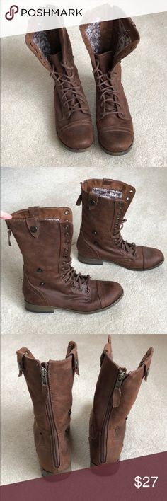 NWOT Brown Combat Boots! Adorable Brown Combat Boots with sweater like material on the inside! Worn only once, just too small for me. No signs of wear. Shoes Combat & Moto Boots