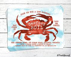 Seafood Boil Invite // Personalized Printable Seafood Boil