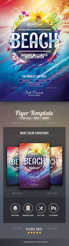 Beach Flyer TemplateThis flyer template is designed to announce a wide range of summertime events: a refreshing party near the pool, a tropical beach party, a famous club party at Ibiza, or just a local summer party in the bar¡­ With this poster design you wil