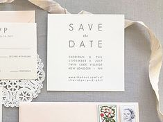 Gray Letterpress Save the Date