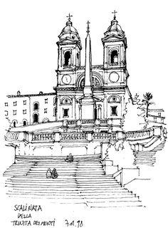 Rome Scalinata della Trinita dei Monti. Italian Urban Sketches to Capture Architecture in a moment in Time. By Gérard Michel.