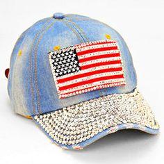 American Flag Super Bling Blue Jean Rhinestone Baseball Hat
