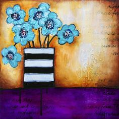 "ORIGINAL CANVAS - ""turquoise posies"" | Donna Downey Studios Inc"