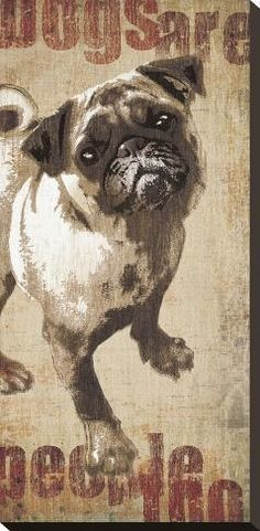 RETRO ART PRINT Pug Snuggler MJ Lew
