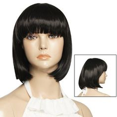 Rosallini Ladies Black Neat Bang Short Straight BoBo Hair Wigs Hairpieces by Rosallini. $22.42. Features: Black Color, Neat Bang, Short Straight BoBo Style, Built-in Wig Cover, Synthetic Fiber Wig;25cm flat length (Different head sizes could affect how long the wig appears when it is put on);The hooks inside the wig are adjustable to fit most sizes;Easy to attach and remove, totally DIY able ;Suitable for costume party and cosplay.
