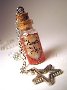 Happily Ever After - Glass Bottle Cork Necklace - Potion Vial Charm - Pink Copper Shimmer - Magic Spells