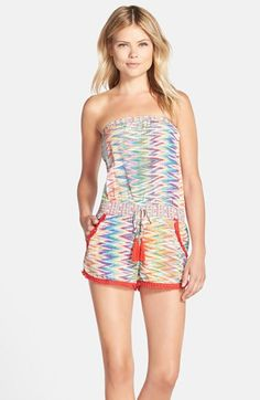 Charlie Jade Chevron Print Silk Strapless Romper available at #Nordstrom