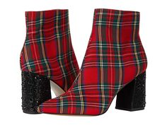 Plaid Suit, Red Plaid, Blue By Betsey Johnson, Made Clothing, Christmas Fashion, Crazy Shoes, Cowgirl Boots, Red Shoes, Bootie Boots