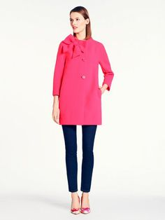 Pink bow coat.