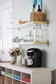 how to style shelves for a chic barcart look