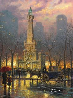Thomas Kinkade - Chicago, Winter at the Water Tower  2004