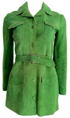 1970s Halston belted suede coat...many pant suits had jackets similar to this.