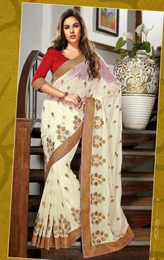 Picture of Stunning Cream Color Chiffon Party Wear Saree