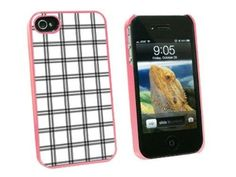 Graphics and More Mad for Plaid Black White - Snap On Hard Protective Case for Apple iPhone 4 4S - Pink - Carrying Case - Non-Retail Packaging - Pink