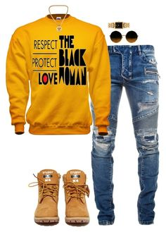 """Untitled #1599"" by visionsbyjo on Polyvore featuring Balmain, American Apparel and Versace"
