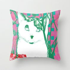 flower and cat Throw Pillow by Dachie - $20.00, cat, stray cat, black and white cat, white, green, dark green, flower, pink, turquoise, rosewood, red, purple