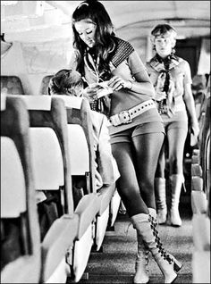 Travel made fashionable. 1970's flight attendant.