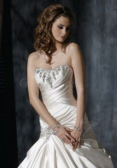 a-line Satin lace-up back Floor-Length beaded Wedding Dress picture 3