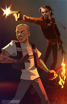 Last piece of 2013, just in time for New Years Eve. A couple of favorites from Sons of Anarchy - Chibs, Gemma, Bobby Elvis, and Tig. These folks are both challenging and a fun to illustrate - may h...