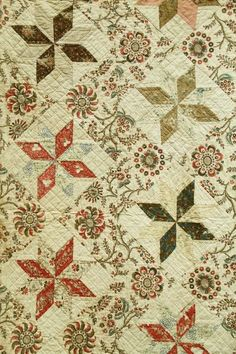 The most important clues to the age of a quilt are the stiches, the fabric and the design used. It must be remembered that fabrics, especially those used for patchwork and applique, often started their lives as other things (dresses or curtains) before becoming scraps and then part of a quilt, so they may be much older then quilt itself.