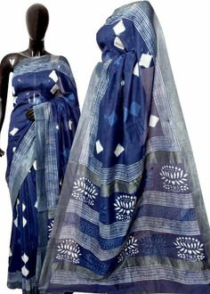 Exclusive New hand Block printed silk cotton gicha border sarees