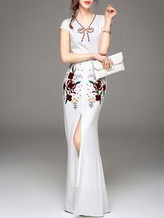Embroidery Slit Silk Maxi Dress
