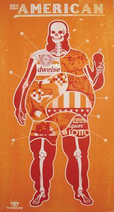 """100% American (Orange)"" silk-screen by TrustoCorp."