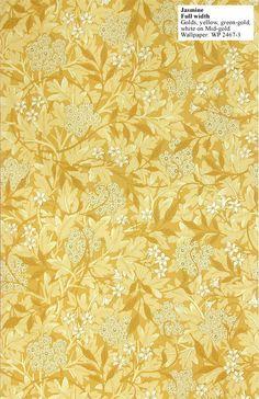 William Morris's Jasmine (1872) wallpaper ( green-gold, white on mid-gold)