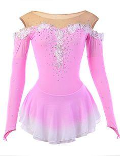 Vestido de patinaje artístico Mujer Chica Patinaje Sobre Hielo Vestidos Rosa Licra Pedrería Apliques Encaje Flor Alta elasticidad